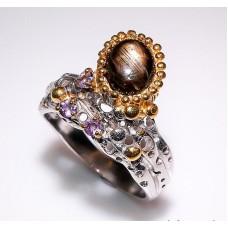 Handmade! Кольцо. Натуральный звездчатый сапфир. Серебро 925. К3436