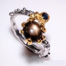Handmade! Кольцо. Натуральный звездчатый сапфир. Серебро 925. К3481