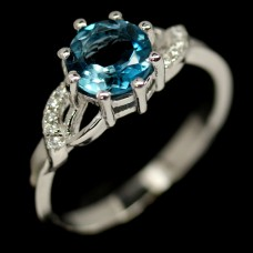 Кольцо. Натуральный голубой лондон топаз. Серебро 925. К5504
