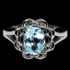 Кольцо. Натуральный голубой топаз. Серебро 925. К5995