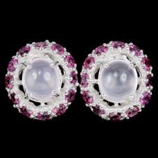 Серьги. Натуральный розовый кварц, родолит гранат. Серебро 925. С6577