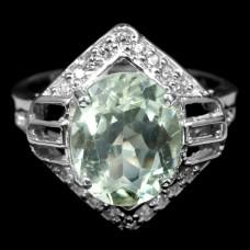 Кольцо. Натуральный празиолит. Серебро 925. К6965