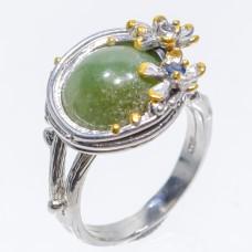 Handmade! Кольцо. Натуральный нефрит и сапфир. Серебро 925. К6997