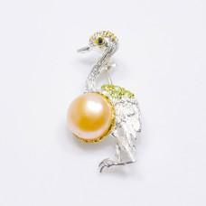 Handmade! Брошь. Натуральный жемчуг, перидот и шпинель. Серебро 925. П7044