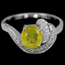 Кольцо. Натуральный желтый сапфир. Серебро 925.