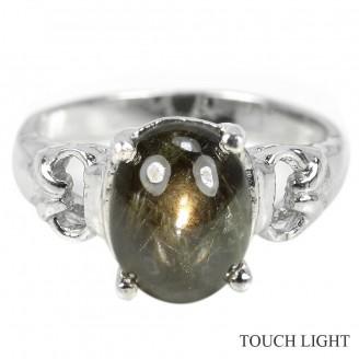 Кольцо. Натуральный звездчатый сапфир. Серебро 925. К7423