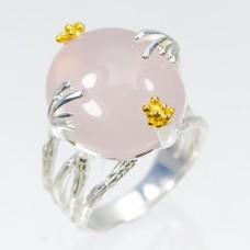Handmade! Кольцо. Натуральный розовый кварц. Серебро 925. К7568