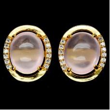 Серьги. Натуральный розовый кварц. Серебро 925. С7599