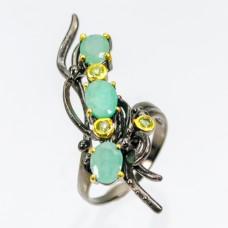 Handmade!!! Кольцо. Натуральный изумруд и перидот. Серебро 925. К7785