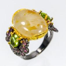 Handmade! Кольцо. Натуральный рутиловый кварц, перидот и родолит гранат. Серебро 925. К7787