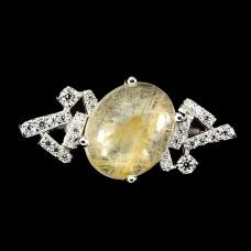 Кольцо. Натуральный рутиловый кварц. Серебро 925.