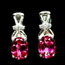 Серьги. Натуральный розовый топаз. Серебро 925.