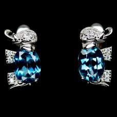 Серьги. Натуральный голубой лондон топаз. Серебро 925.