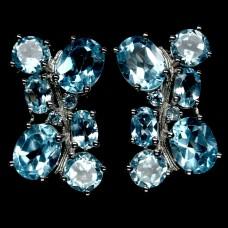 Серьги. Натуральный голубой топаз. Серебро 925.