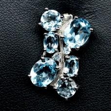 Подвес. Натуральный голубой топаз. Серебро 925.