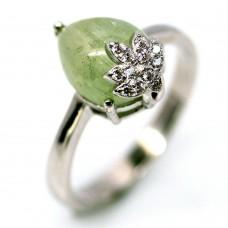 Кольцо. Натуральный зеленый сапфир. Серебро 925.