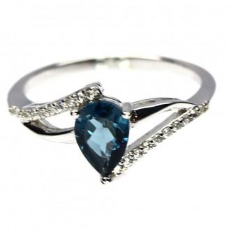 Кольцо. Натуральный голубой лондон топаз. Серебро 925.
