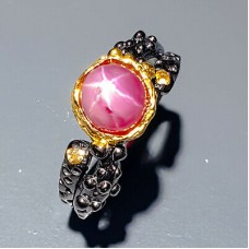 Handmade! Кольцо. Натуральный звездчатый рубин . Серебро 925.