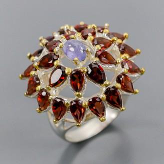 Handmade! Кольцо. Натуральный танзанит и родолит гранат. Серебро 925.
