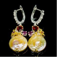 Handmade! Серьги. Натуральный барочный жемчуг, родолит гранат и аметист. Серебро 925.