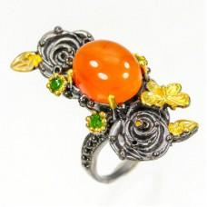 Handmade! Кольцо. Натуральный сердолик и хром диопсид. Серебро 925.
