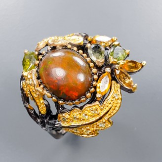 Handmade! Кольцо. Натуральный опал, цитрин, турмалин и сапфир. Серебро 925.