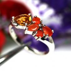 Кольцо. Натуральный цитрин и оранжевый сапфир. Серебро 925.