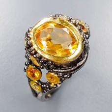 Handmade! Кольцо. Натуральный цитрин и сапфир. Серебро 925.