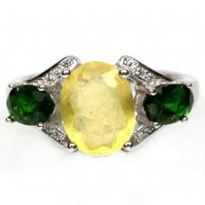 Кольцо. Натуральный желтый опал и хром диопсид. Серебро 925.