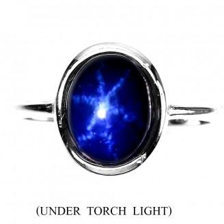 Кольцо. Натуральный звездчатый сапфир. Серебро 925.