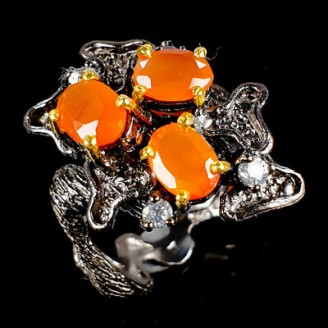 Handmade! Кольцо. Натуральный сердолик и топаз. Серебро 925.