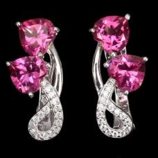 Серьги. Натуральный розовый топаз. Серебро 925. С8663