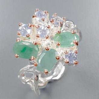 Handmade!!! Кольцо. Натуральный изумруд и танзанит . Серебро 925.К8684