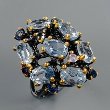 Handmade!!! Кольцо. Натуральный голубой топаз. Серебро 925.К8685
