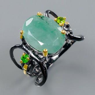 Handmade!!! Кольцо. Натуральный изумруд . Серебро 925.К8689