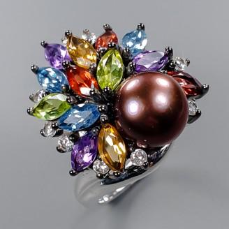 Handmade! Кольцо. Натуральный жемчуг и мультиколор. Серебро 925. К8697