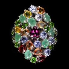 Кольцо. Натуральный  изумруд, танзанит, родолит, сапфир и хром диопсид. Серебро 925. К8705