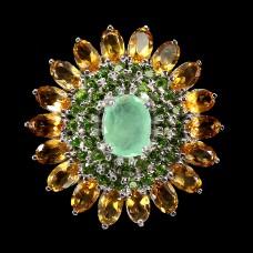 Кольцо. Натуральный изумруд, хром диопсид и цитрин. Серебро 925. К8707