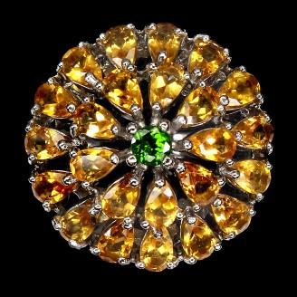 Кольцо. Натуральный хром диопсид и цитрин . Серебро 925. К8708