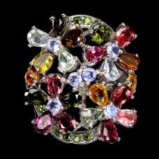 Кольцо. Натуральный турмалин, хром диопсид и танзанит. Серебро 925. К8721