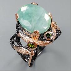 Handmade!!! Кольцо. Натуральный изумруд и турмалин. Серебро 925.К8808