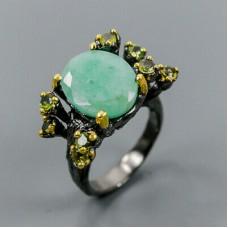 Handmade!!! Кольцо. Натуральный изумруд и турмалин. Серебро 925.К8809