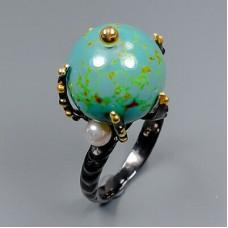 Handmade! Кольцо. Натуральная бирюза и жемчуг. Серебро 925. К8810