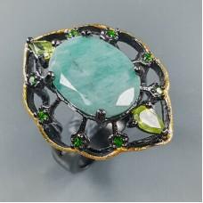 Handmade!!! Кольцо. Натуральный изумруд, хром диопсид и перидот. Серебро 925. К8811