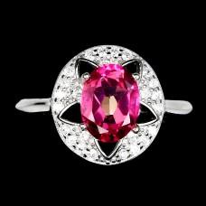 Кольцо. Натуральный розовый топаз. Серебро 925. К8830