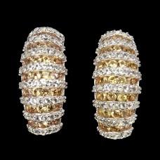 Серьги. Натуральный желтый сапфир и топаз. Серебро 925. С8834