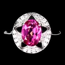 Кольцо. Натуральный розовый топаз. Серебро 925. К8840