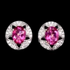 Серьги. Натуральный розовый топаз. Серебро 925. С8841